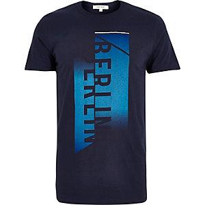 Navy Berlin faded print t-shirt
