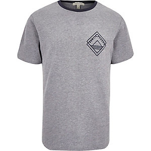 Grey print ringer t-shirt