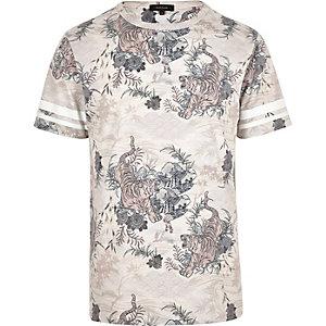 Grey tiger-print short-sleeve t-shirt