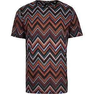 Dark brown zig zag t-shirt