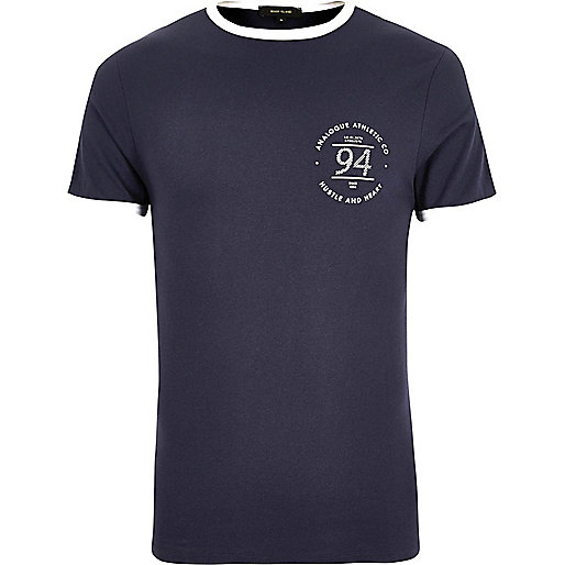 Navy ringer muscle fit T-shirt