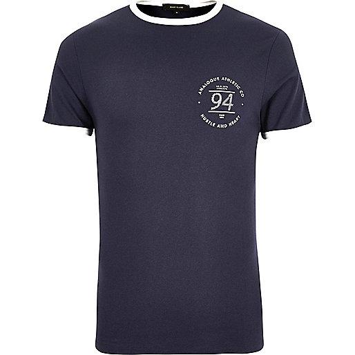 T-shirt ajusté bleu marine à liserés