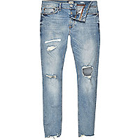 Sid – Skinny Jeans in hellblauer Waschung im Used-Look