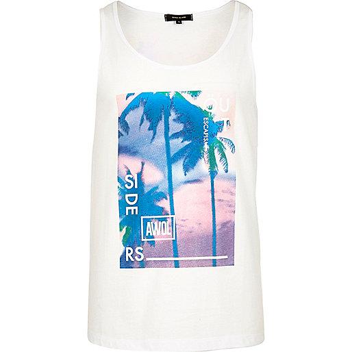 Débardeur imprimé palmiers blanc