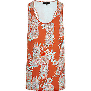 Orange pineapple print tank