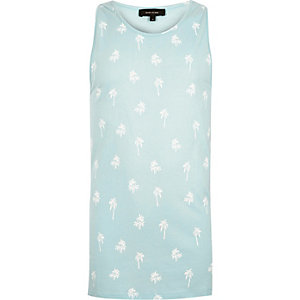 Light blue palm tree print vest