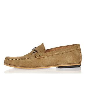 Dark beige suede snaffle loafers