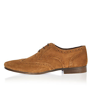 Tan suede smart shoes