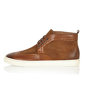 Tan suede and leather brogue boots