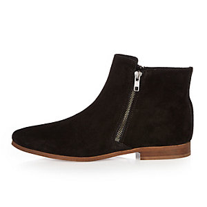 Black suede zipped Chelsea boots