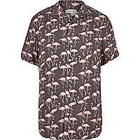Pink flamingo print shirt