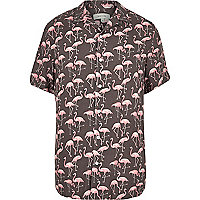 Chemise à imprimé flamants rose