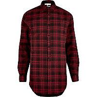 Chemise à carreaux rouge coupe longue