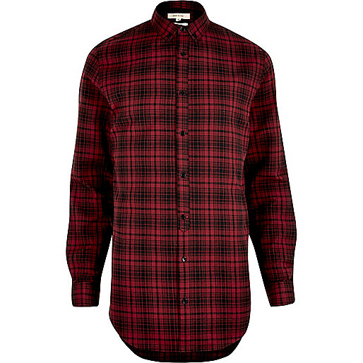 Red longline checked shirt
