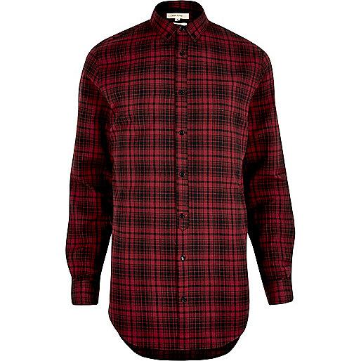 Chemise à carreaux rouges longue