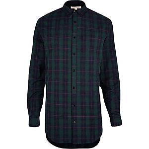 Green longline checked shirt