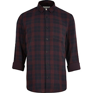 Dark red checked shirt