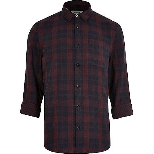 Chemise à carreaux rouge foncé réversible