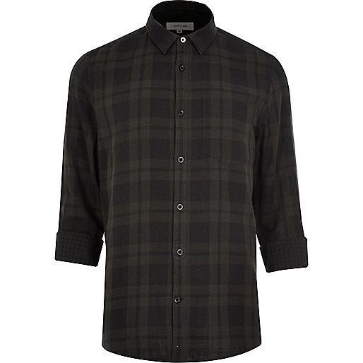 Chemise casual à carreaux réversible grise