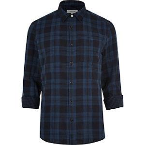 Navy double faced check shirt