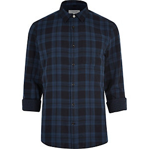 Navy double faced casual check shirt
