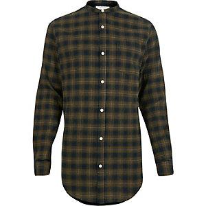 Green checked longline grandad shirt