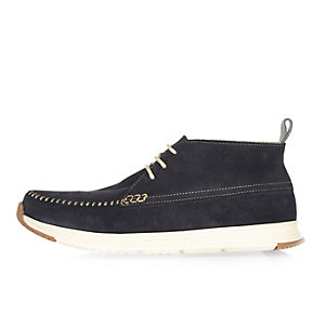 Navy suede hybrid boots