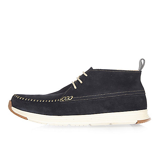 Navy suede sporty boots