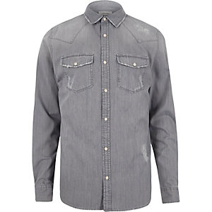 Grey Western denim shirt