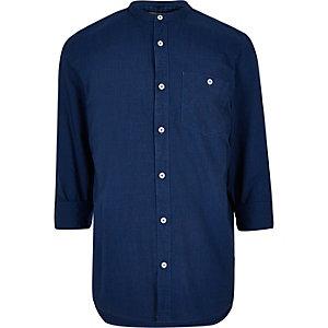 Indigo textured grandad shirt