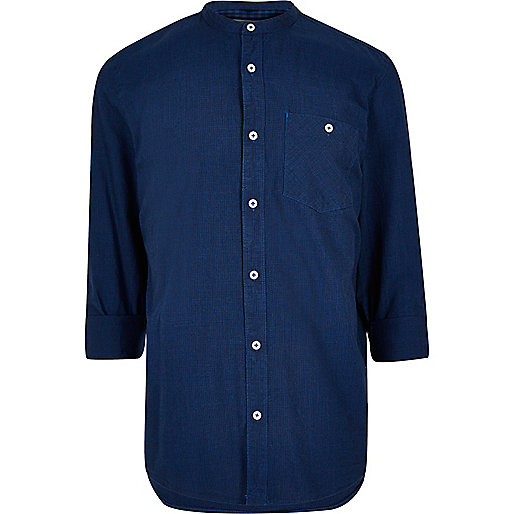 Indigo casual textured grandad shirt