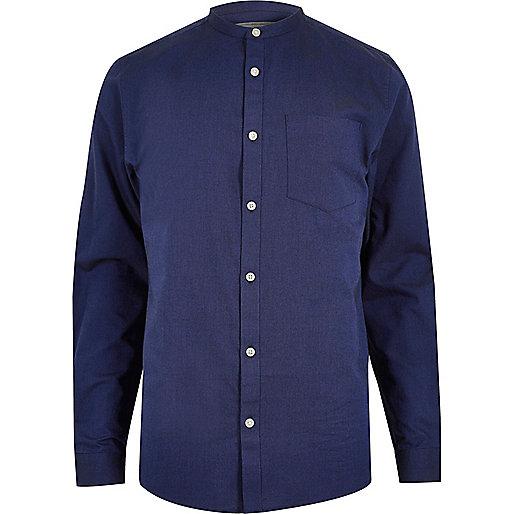 Blaues Oxford-Hemd mit Grandad-Kragen