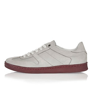 Grey premium leather sneakers