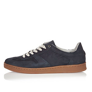 Navy premium leather sneakers