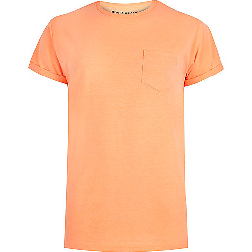 T-Shirt mit Rundhalsausschnitt in Orange