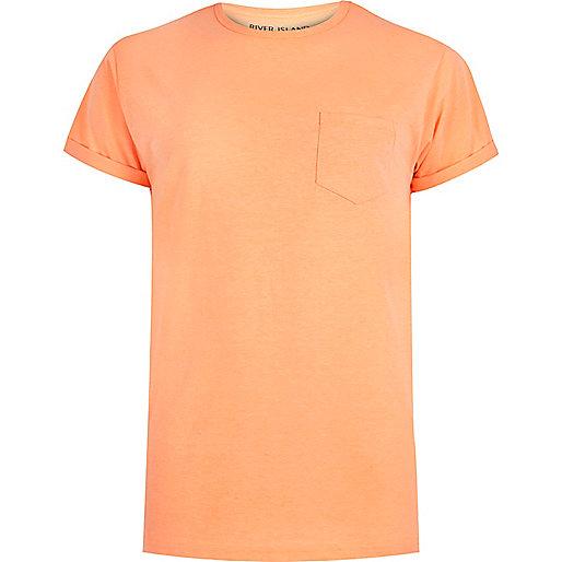 T-shirt ras du cou orange fluo