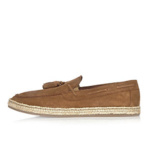 Medium brown suede espadrille loafers