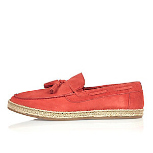Orange suede espadrille loafers