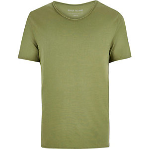 Khaki scoop neck T-shirt