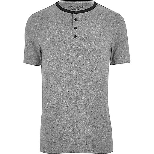 Grey muscle fit grandad T-shirt