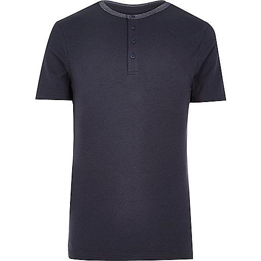 Navy muscle fit grandad T-shirt