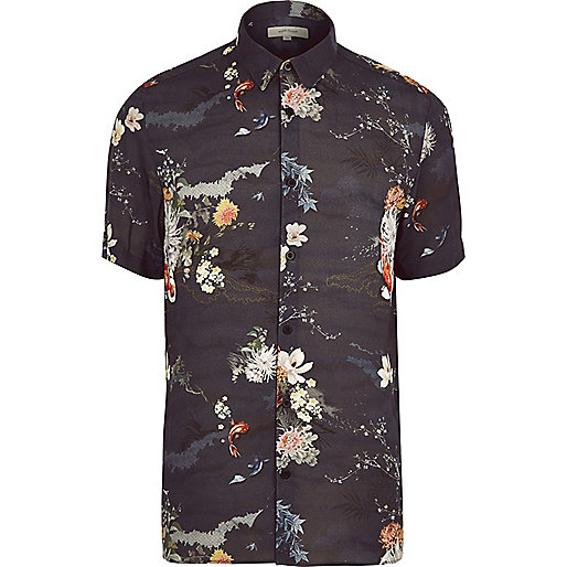 Navy fish print casual short sleeve shirt