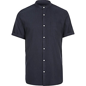 Navy grandad short sleeve shirt