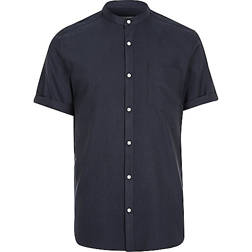 Navy grandad short sleeve shirt shirts sale men for Short sleeve grandad shirt