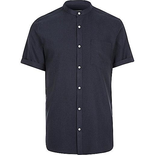 Navy grandad short sleeve shirt