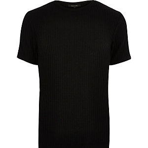 Black chunky ribbed t-shirt