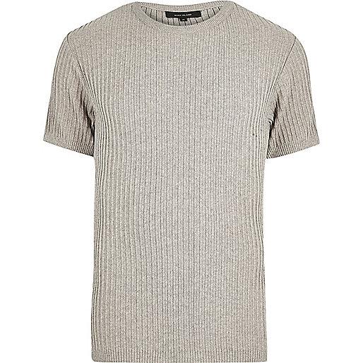 Steingraues, geripptes, schmales T-Shirt