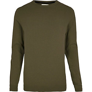 Green ribbed shoulder jumper