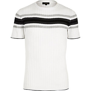White chest stripe t-shirt