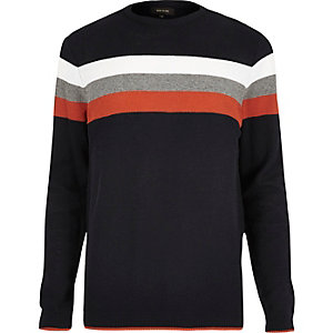 Navy chest stripe sweater
